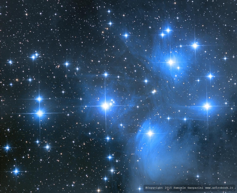 l'immagine del telescopio spaziale: lo sfondo è blu molto scuro, si vedono dei puntini di varie dimensioni ci colore bianco splendente